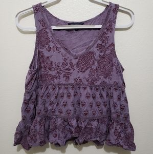 American Eagle Purple Floral Tank Top